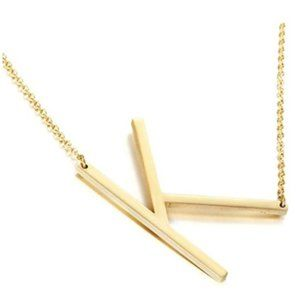 K L M N O Stainless Steel Gold Initial Necklace
